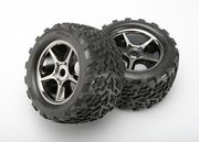 "Traxxas Tires & Wheels Talon/Gemini Black Chrome (17mm) 3,8"" TSM (2)"