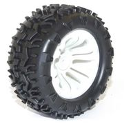 FTX Carnage PreGlued Tires With White Wheel (2)