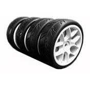 Ride 1/10 Slick Tires Precut 24mm Pre-glued with 10 Spoke Wheel White (4pcs)