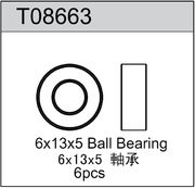 TeamC 6x13x5mm Rubber Sealed Ball Bearing (6)