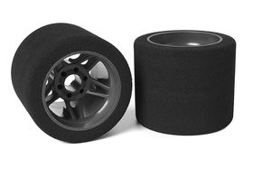 Team Corally Attack foam tires 1/8 SSX-8 35 shore Rear 72mm Carbon Flex Rims (2)