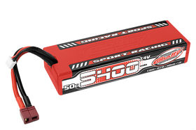 No Packing - Team Corally Sport Racing 50C LiPo Battery 5400mAh 7.4V Stick 2S Hard Wire T-Plug