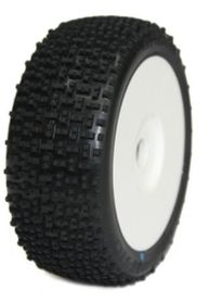 Medial Pro - Racing Tires mounted on White Rims for 1/8 Buggy - Gravity M2 Medium (2)